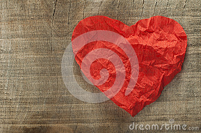 Heart made ​​of curled red paper