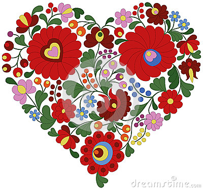 Free Heart Made From Traditional Hungarian Embroidery Pattern Stock Image - 54934161