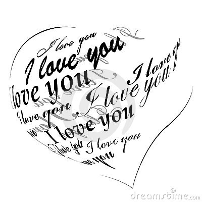 Heart made of I love you phrase