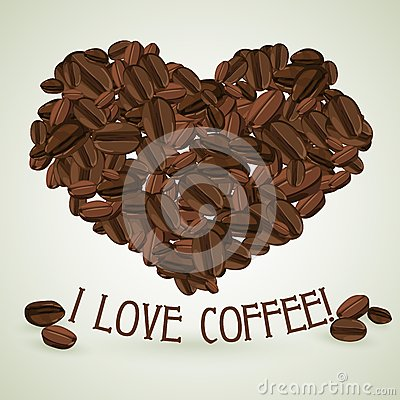 Free Heart Made Of Coffee Beans With The Text Below Stock Images - 55348094