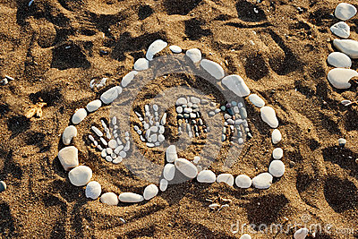Heart made with pebbles