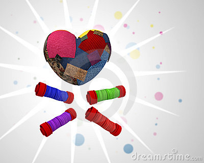 Heart made with pieces of colored cloth