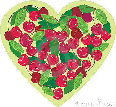 Heart is made by sweet cherries