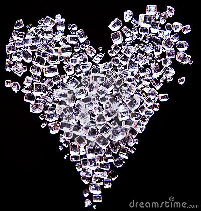 Heart made of tiny sugar crystals