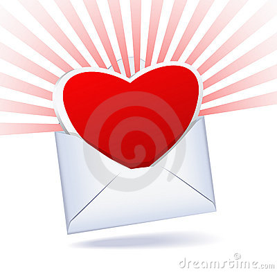 Heart and mailing envelope.
