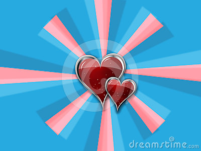 Heart with Metal Borders on blue_pink pinwheel