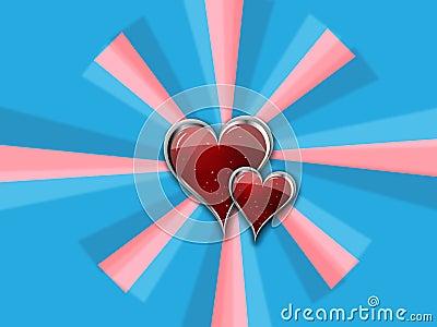Heart with Metal Borders on blue_pink pinwheel