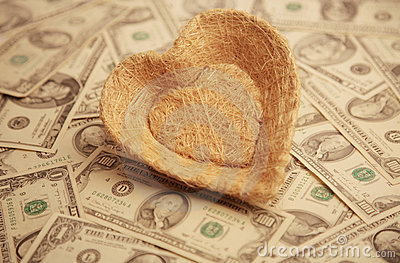 Heart with money background