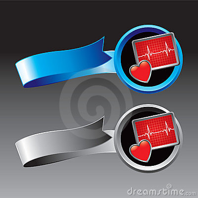 Heart monitor on blue and silver ribbons