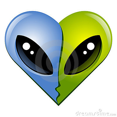 Free Heart N7. Kissing Aliens Royalty Free Stock Photos - 8377318