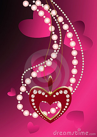 Free Heart Necklace And Beads Stock Photography - 17423842
