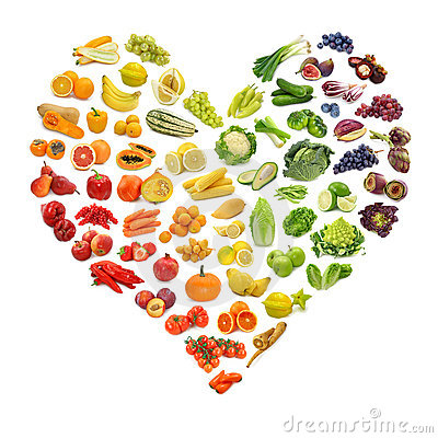 Free Heart Of Fruits And Vegetables Royalty Free Stock Photography - 21036277