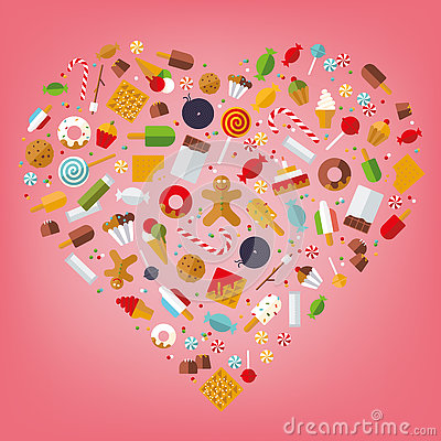 Free Heart Of Sweets And Candy Stock Image - 80079821
