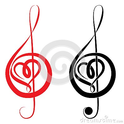 Free Heart Of Treble Clef And Bass Clef Royalty Free Stock Photography - 34509147