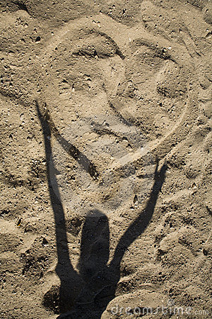 Free Heart On The Sand And Shadow Of Child Stock Images - 11774544