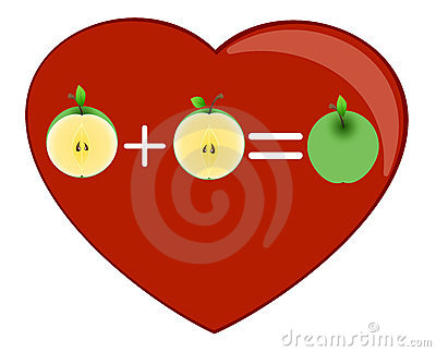 Heart and one half apples