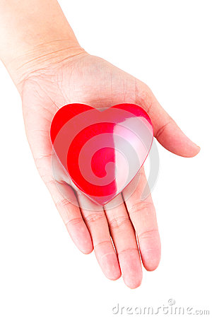 Heart on open palm as love symbol
