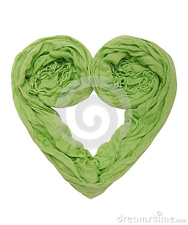 A heart is out of green scarf.