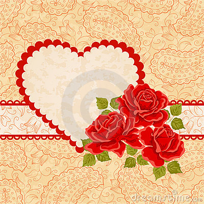 Heart, Paisley and Red Roses