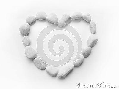 Heart pebbles frame