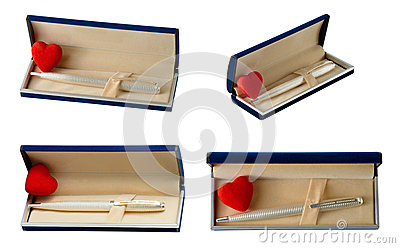 Heart and pen in gift box
