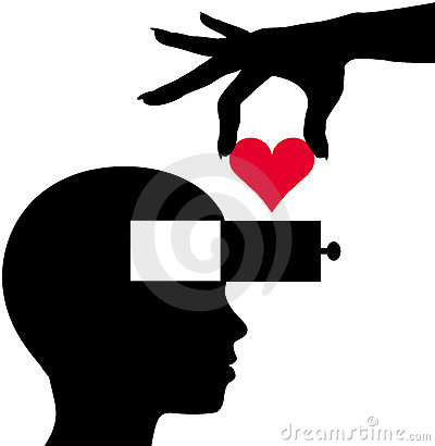 Heart into person head thinking love romance