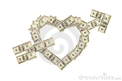 Heart pierced with arrow made of dollars