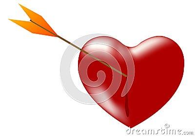 Heart pierced by dart