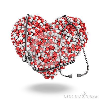 Heart pills stethoscope
