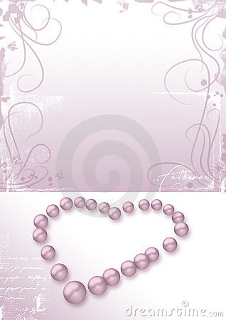 Heart pink pearls, love letter