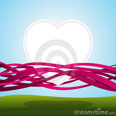 Heart in pink ribbons