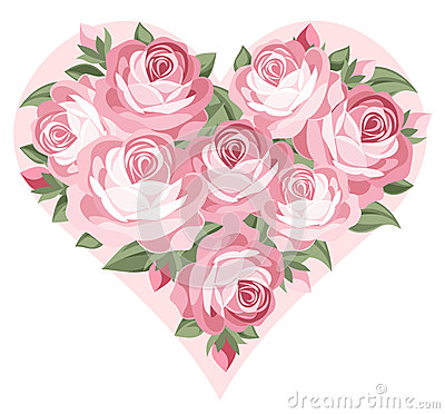 Heart of pink roses.