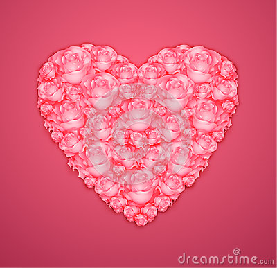 Heart from pink roses