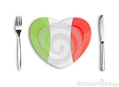Heart plate colored in Italian national colors