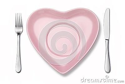 Heart Plate Fork Knife Setting