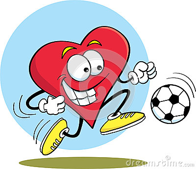 Heart playing soccer