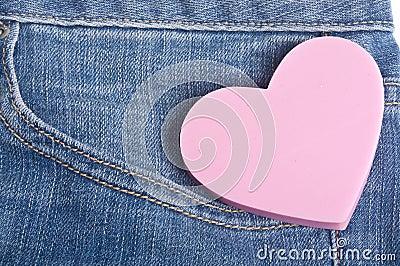 Heart in the Pocket of Denim Blue Jean Pants