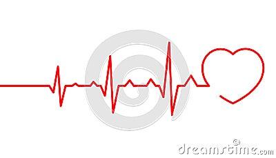 Heart pulse, Cardiogram line vector illustration, Heartbeat Vector Illustration