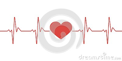 Heart pulse. Red and white colors. Heartbeat lone, cardiogram. Beautiful healthcare, medical background. Modern simple design. Vector Illustration