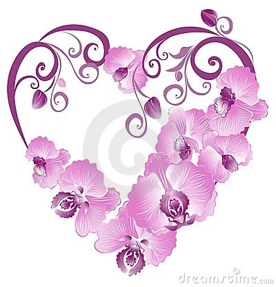 Heart from purple orchid. Vector illustration
