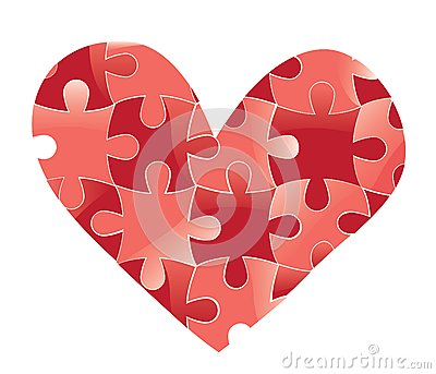 Heart puzzle. Love background.