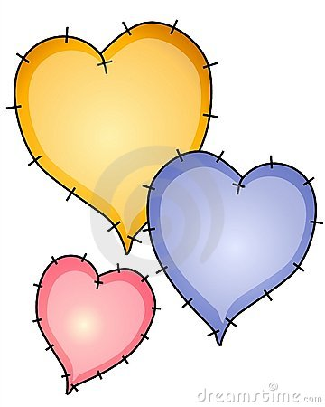 Heart Quilt Patches Clip Art