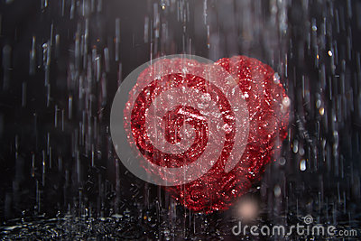 Heart in rain
