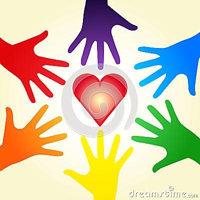 Heart and rainbow hands