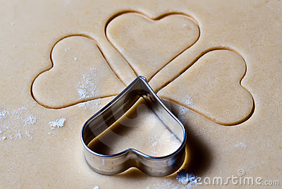 Heart ramekins in the dough