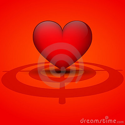 Heart on a red background with target.