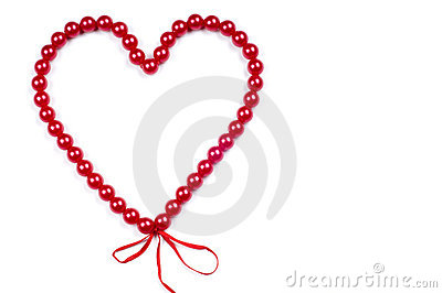 Heart from red beads
