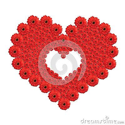 Heart from red gerbera flowers