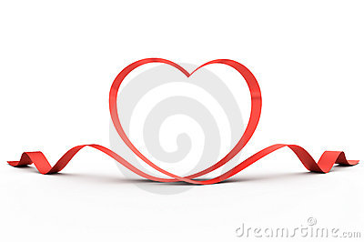 Heart from a red ribbon
