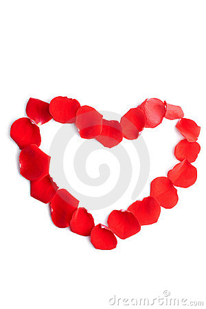 Heart of red rose petals isolated